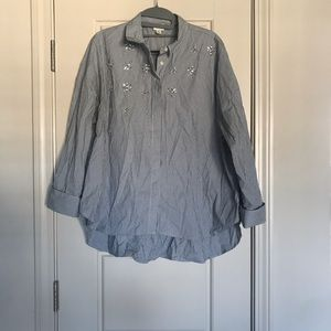 Women's Button Down Blouse with Rhinestones